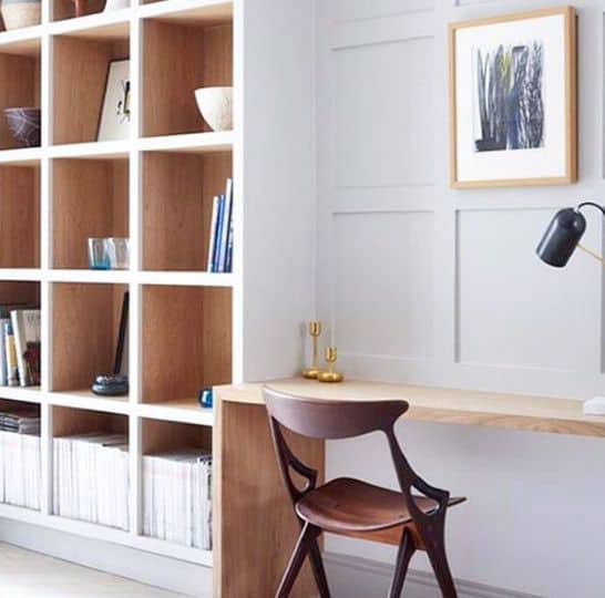 White And Natrual Wood Desk Built In Ideas