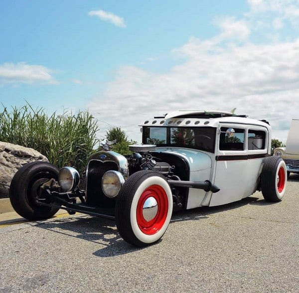 White And Red Painted Badass Rat Rods