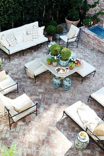 White And Red Rustic Backyard Ideas Brick Patio