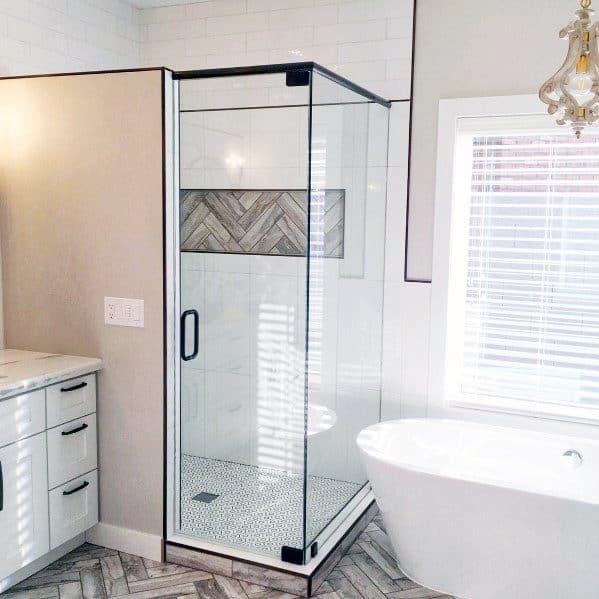 White And Wood Look Tile Corner Shower Design Idea Inspiration