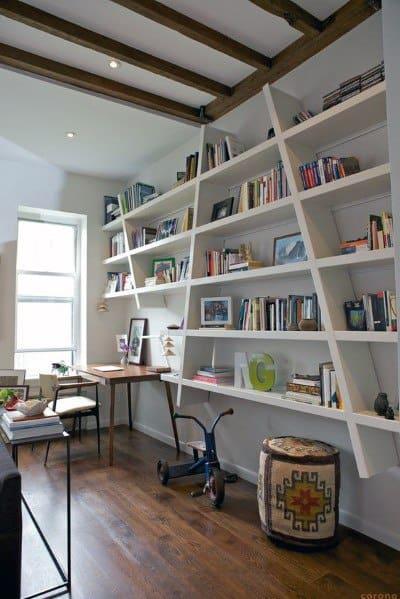 White Angeled Floor To Ceiling Bookshelves Ideas