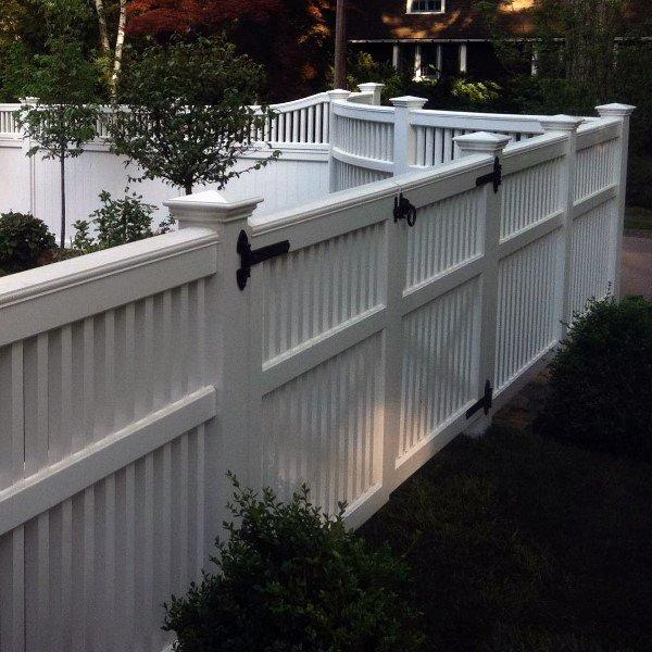 White Backyard Vinyl Fence