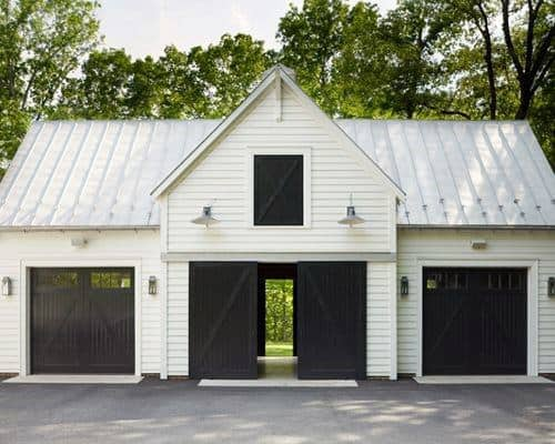 White Barn Black Door Detached Garage Ideas