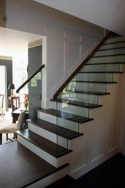 White Base Wood Steps Contemporary Staircase Ideas