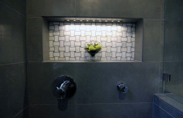 White Basketweave Tile Bathroom Shower Niche Ideas