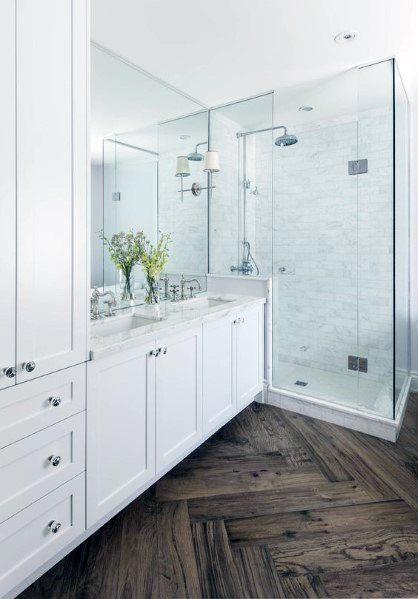 White Bathroom Design Idea Inspiration Hardwood Floring