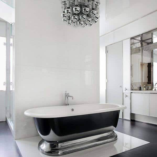 White Bathroom Ideas With Silver Bathtub And Lighting