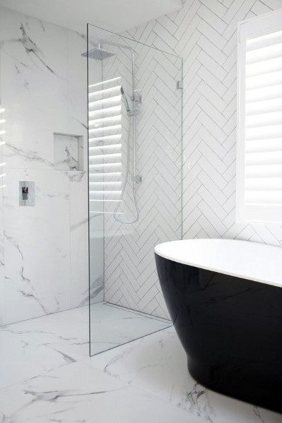 White Bathroom Interior Ideas Black Bathtub