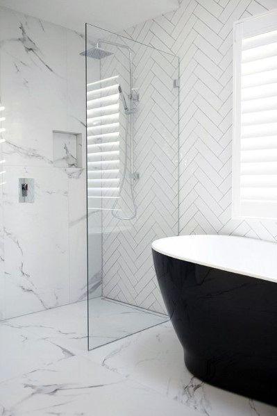 White Bathroom Interior Ideas Black Bathtub