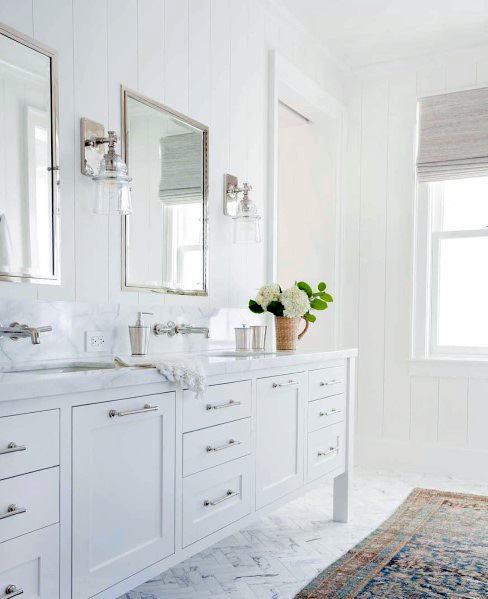 White Bathrooms With Silver Accents And Polished Chrome Fixtures