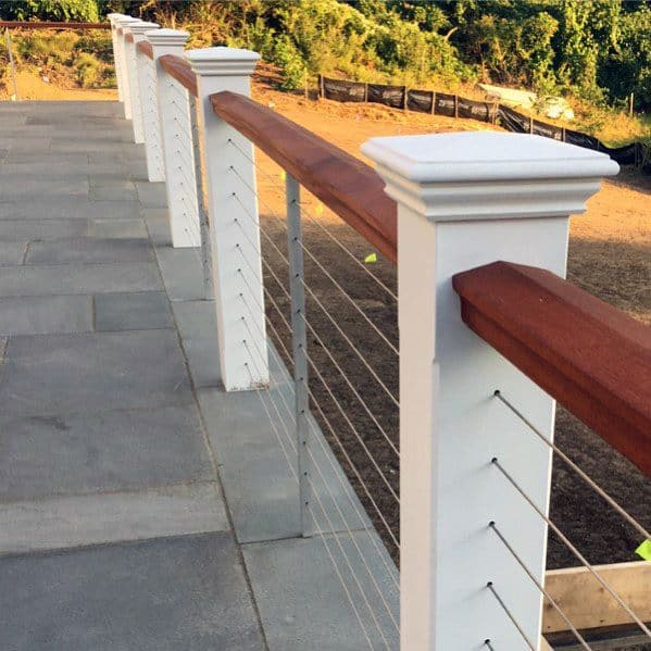 White Beam And Stainless Steel Wire Ideas For Metal Deck Railing