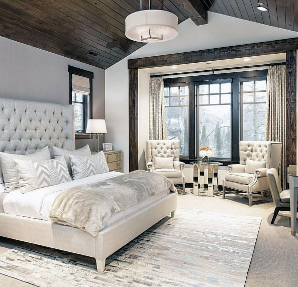 White Bedding With Dark Brown Stained Wood Ceilingrustic Master Bedroom Ideas