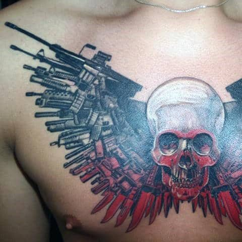 White Black And Red Ink Expendables Guys Upper Chest Tattoos