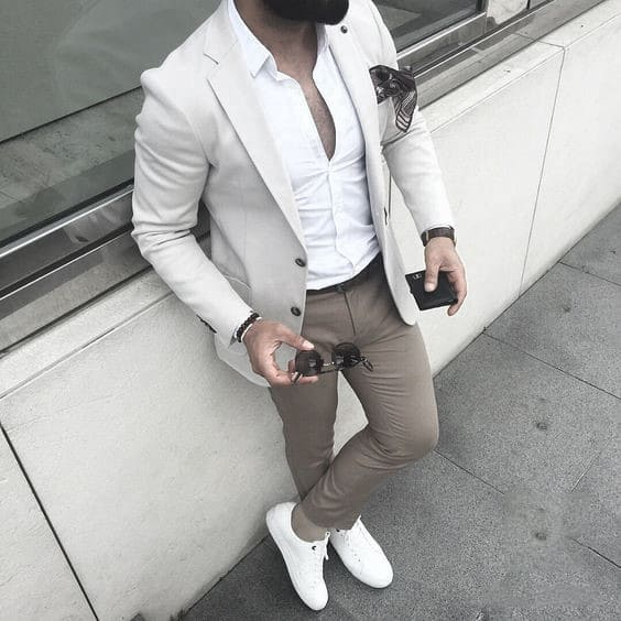 White Blazer What To Wear With Male Khaki Pants Outfits Clothing Styles