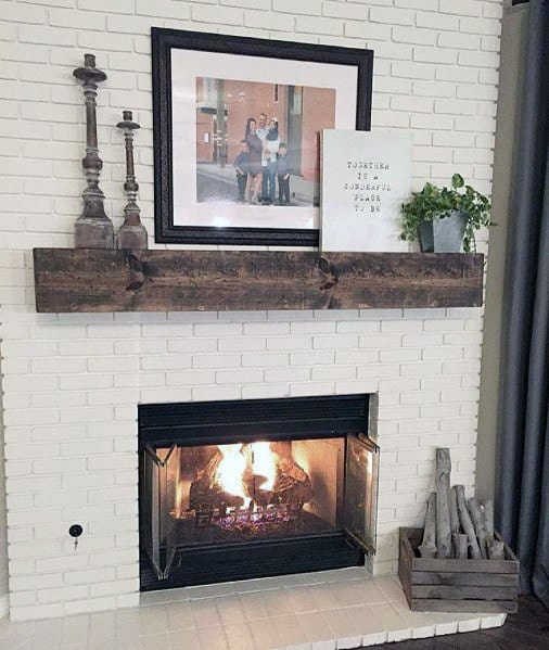 White Brick Interior Ideas Painted Fireplace With Rustic Wood Ledge