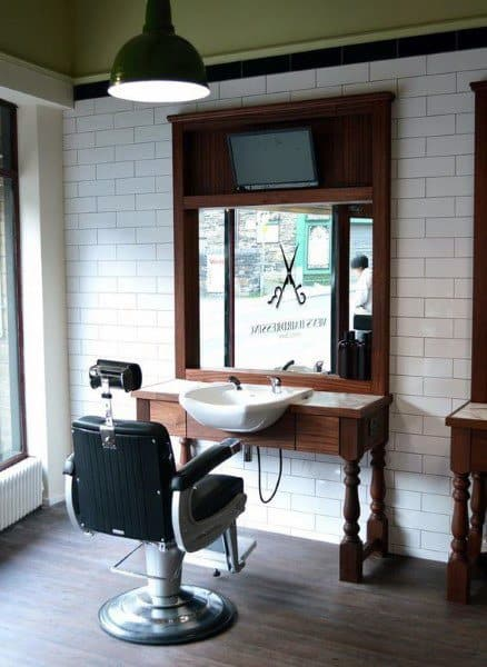 White Brick Walls Barbershop Design
