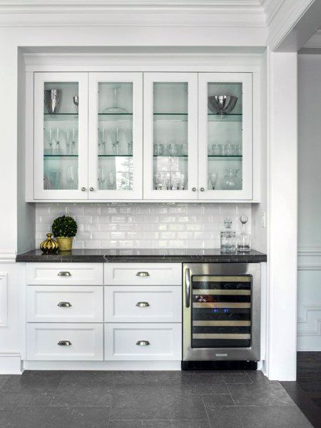 White Cabinetry With Wine Cooler Mini Bar Design Inspiration