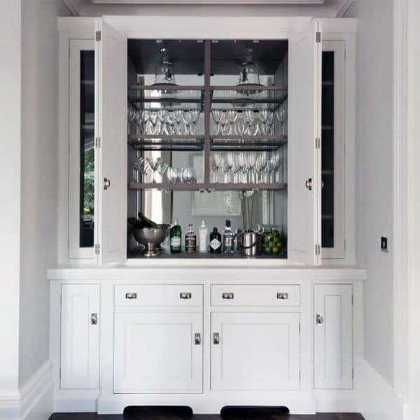 White Cabinets With Mirror Backsplash Mini Bar Ideas