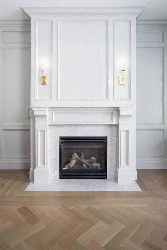 White Cast Fireplace Mantel Design