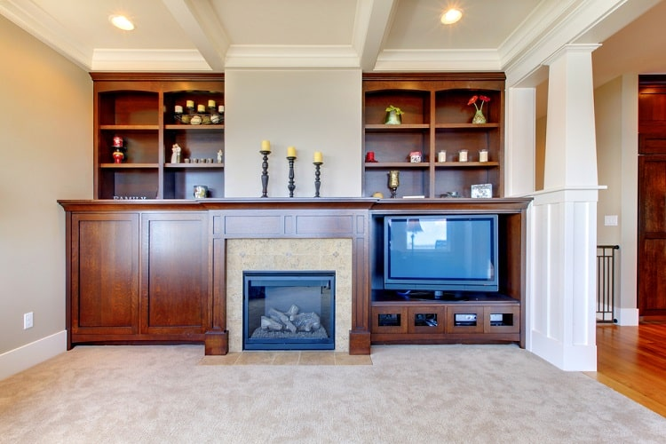 White Ceiling Fireplace Entertainment Center