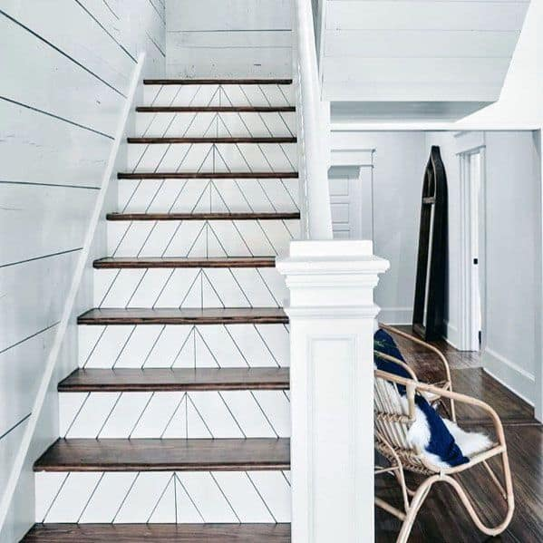 White Chevron Wood Stairs Cool Interior Ideas