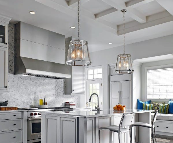 White Coffered Kitchen Ceiling Ideas With Double Large Pendants