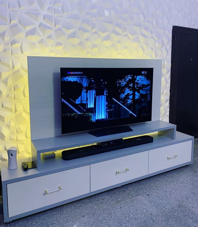 White Console Modern Entertainment Center