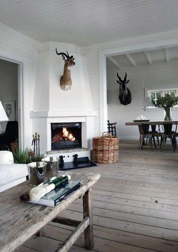 White Corner Fireplace Design