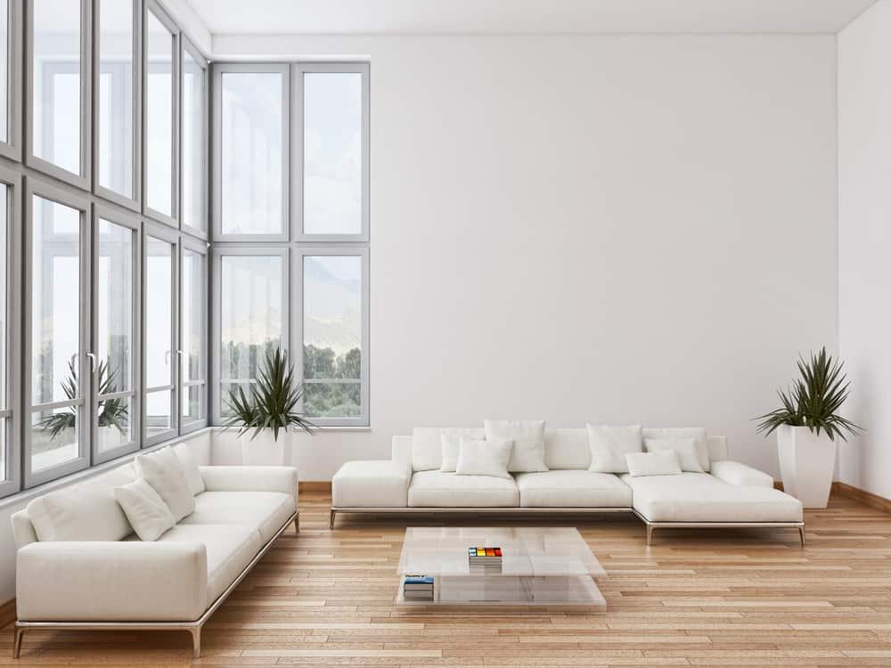 White Decor Pieces Minimalist Living Room 1