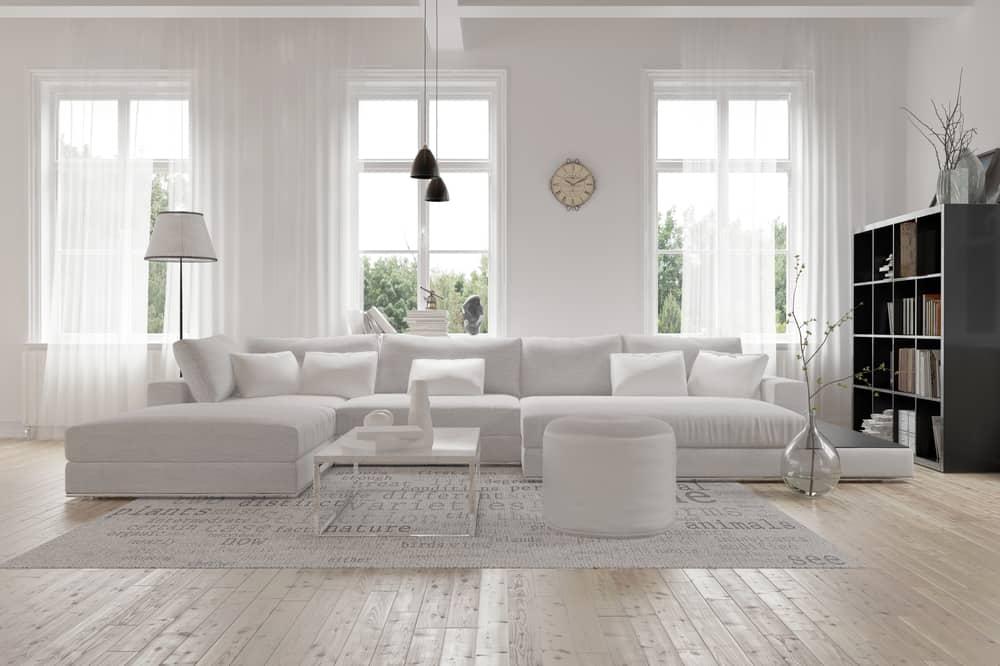 White Decor Pieces Minimalist Living Room 2