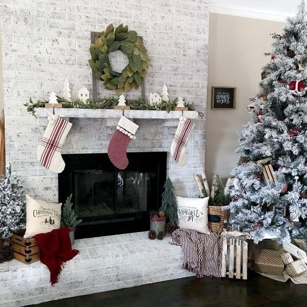 White Distressed Look Painted Fireplace Interior Ideas