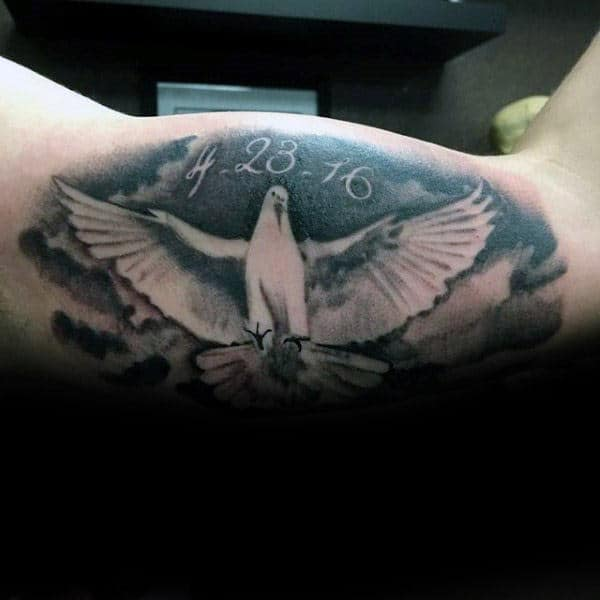 White Dove Mens Memorial Inner Arm Tattoos