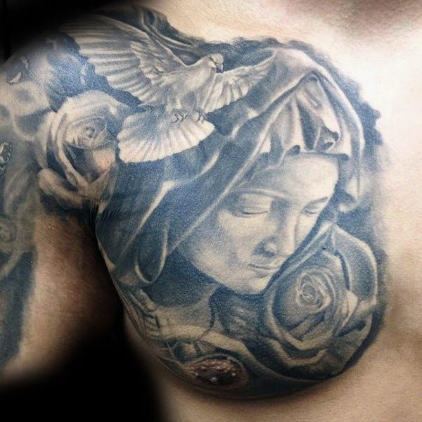 White Dove Virgin Mary Chest Tattoos For Men