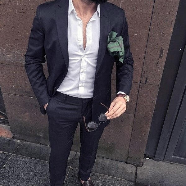 White Dress Shirt Navy Blue Suit Brown Shoes Fashion Ideas For Men Without Tie