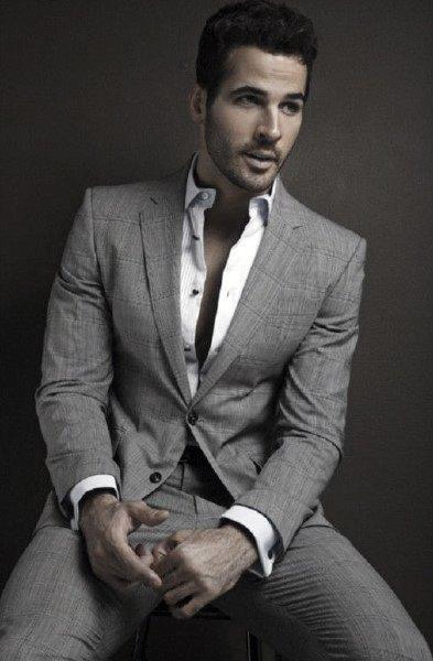 White Dress Shirt No Tie Mens Grey Suit Styles