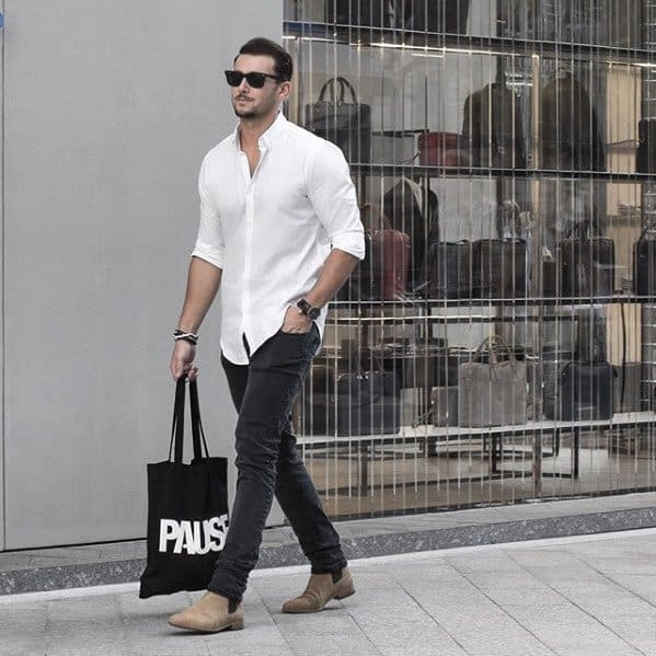 White Dress Shirt With Jeans How To Wear Boots For Men Fashion