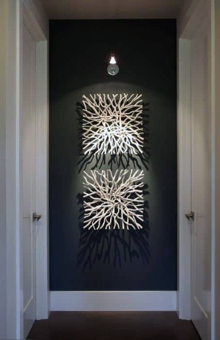 White Driftwood Bachelor Pad Wall Art Ideas