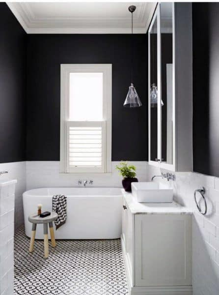 White Drywall With Millwork Molding Bathroom Ceiling Ideas