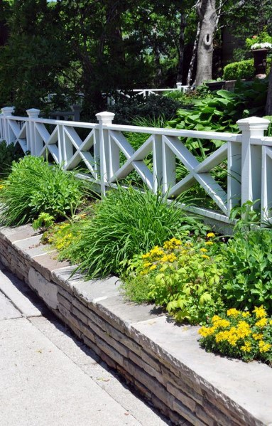 White Exterior Front Yard Fence Design