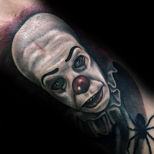 White Face Clown Guys Arm Tattoos