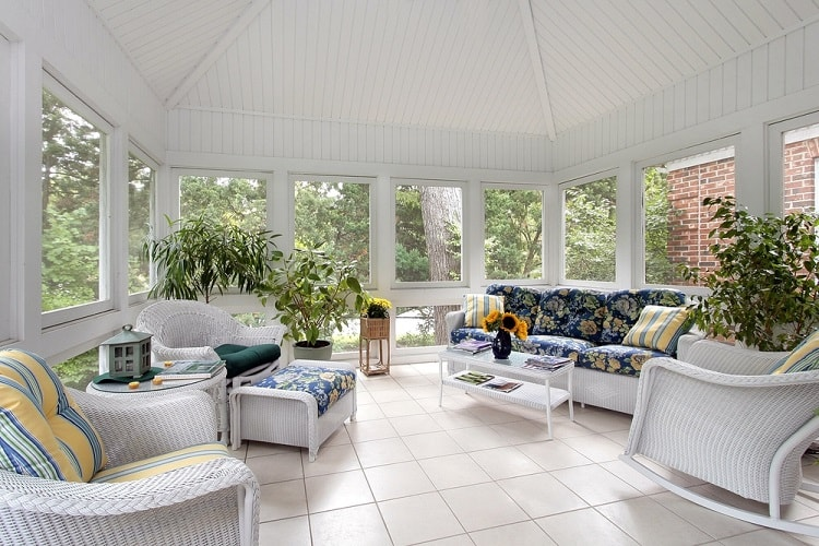 White Floor Screened In Sun Porch