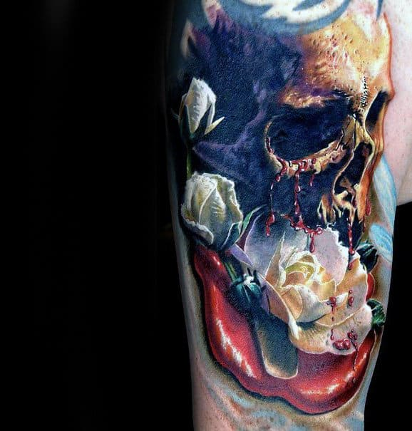 White Flower With Skull Realistic Male Arm Tattoos