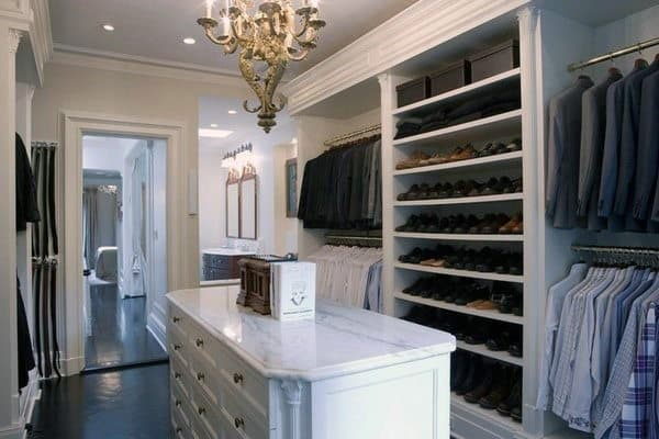 White Formal Elegant Mens Walk In Closet Design Idea Inspiration
