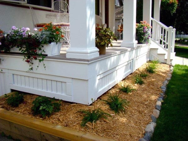White Front Porch Design Ideas For Deck Skirting