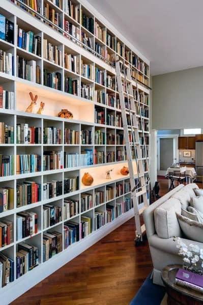 White Full Wall Floor To Ceiling Bookshelves Ideas With Gliding Ladder