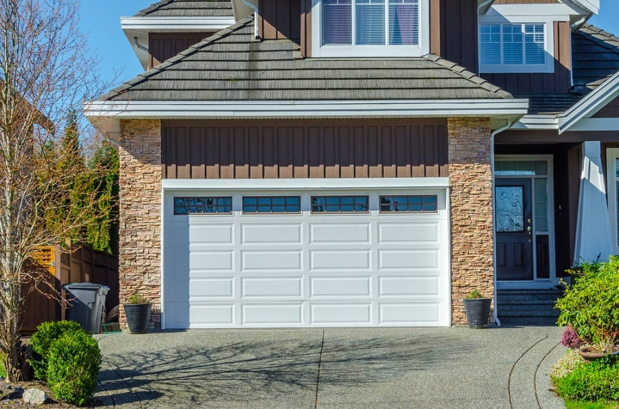 Traditional White Painted Wood Garage Door Ideas