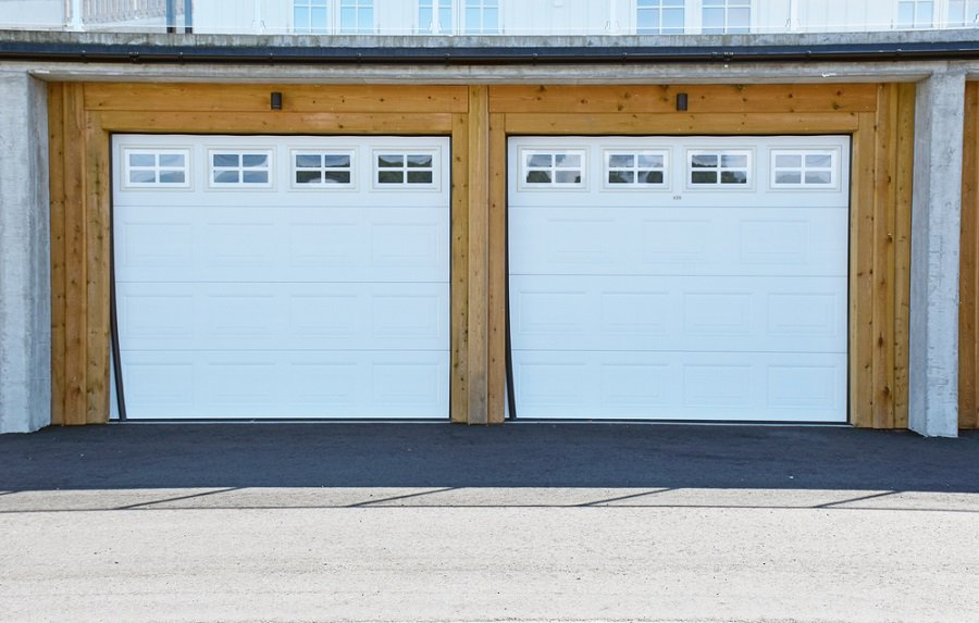 Unique Garage Doors Double Windows Rustic Wood Look