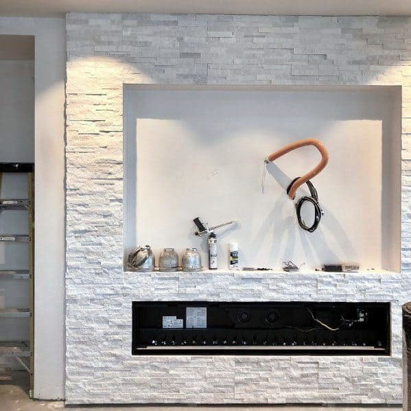 White Gas Stacked Stone Tile Fireplace Ideas