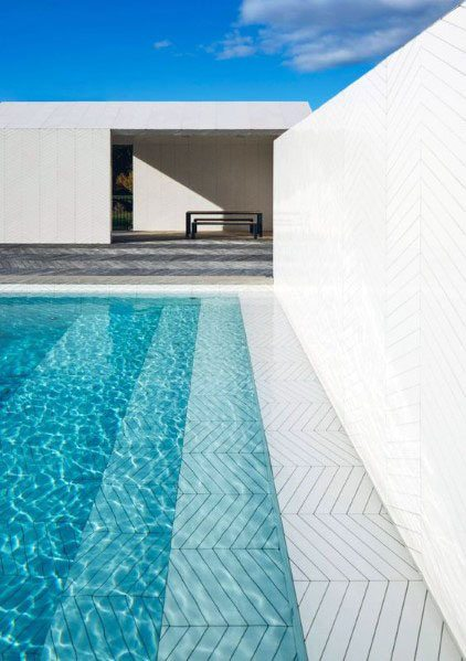 White Geometric Pool Tile Design Ideas