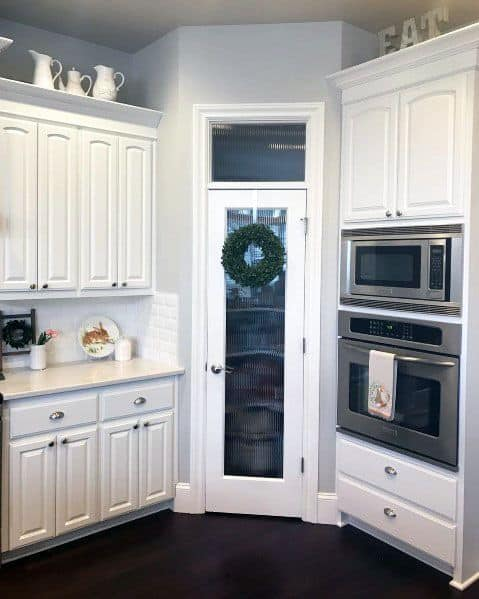 White Glass Exceptional Kitchen Pantry Door Ideas